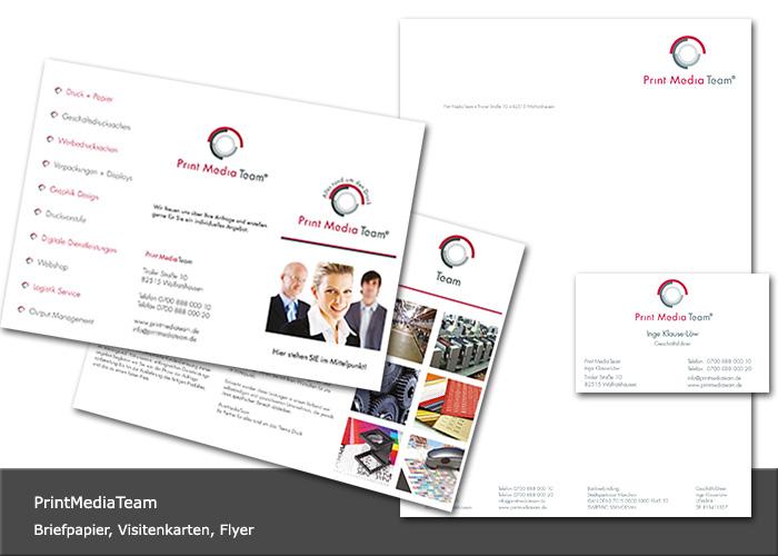 Design Flyer, Briefpapier, Visitenkarten Print Media Team